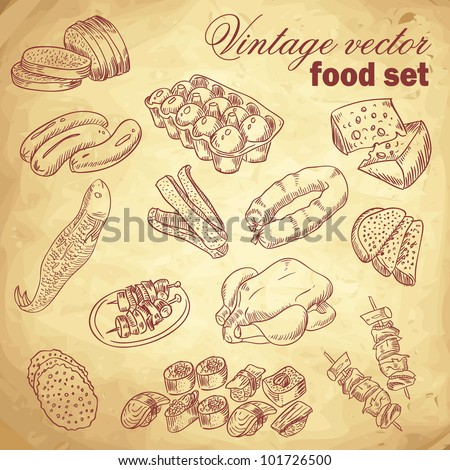 Vintage hand-drawn food set with various delicious dishes - stock vector