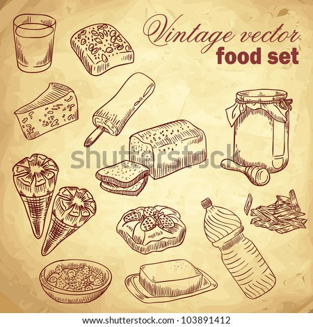 Vintage hand-drawn food set with various tasty things and dishes for breakfast