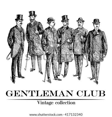 vintage hand drawn gentleman...