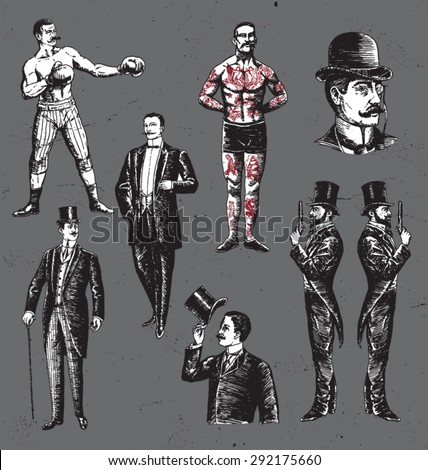 Vintage Hand Drawn Gentlemen Set