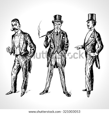 vintage hand drawn gentlemen