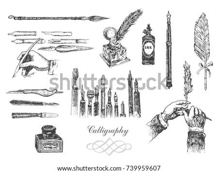 vintage hand drawn hands