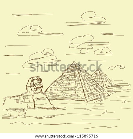 vintage hand drawn illustration of famous tourist destination sphinx and pyramids of Egypt.