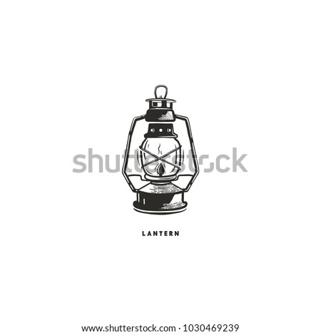 Vintage Hand Drawn Lantern Concept Perfect For Logo Design Badge Camping Labels