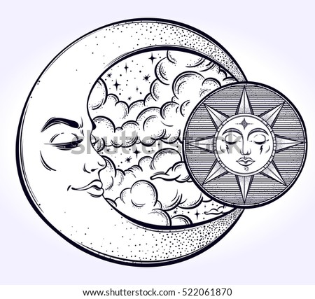 Vintage hand drawn moon, sun and  sky. Vector illustration for coloring book, t-shirts design, tattoo, art.Vector illustration.