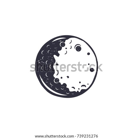 vintage hand drawn moon symbol