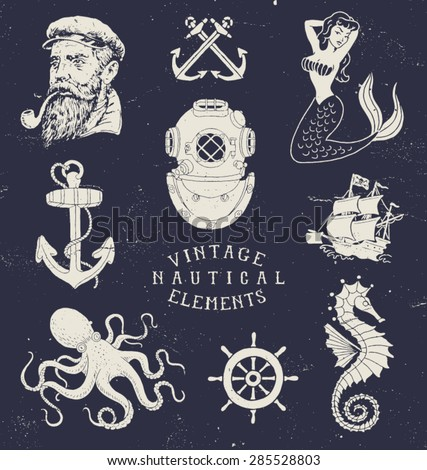 vintage hand drawn nautical set