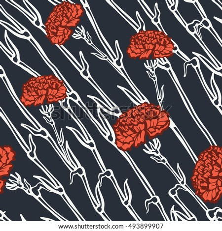 Vintage hand drawn seamless background with graphic carnation.