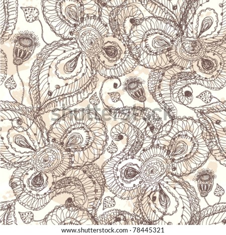 Vintage hand drawn seamless floral pattern