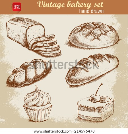Vintage hand drawn sketch style bakery set Bread and pastry sweets on grunge background