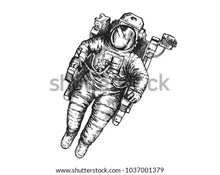 Vintage Hand Drawn Space Astronaut Illustration On White Isolated Background