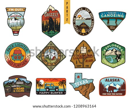 Vintage hand drawn travel badges set. Camping labels concepts. Mountain expedition logo designs. Outdoor hike emblems. Camp logotypes collection. Stock vector patches isolated on white background