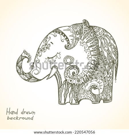 Vintage hand-drawn tribal doodle animal