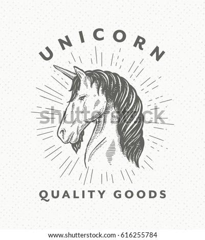 vintage hand drawn unicorn head