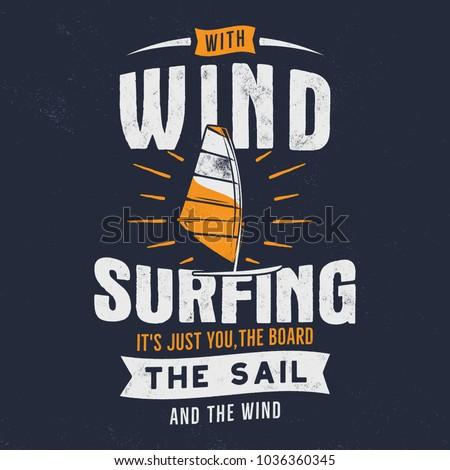 vintage hand drawn windsurfing
