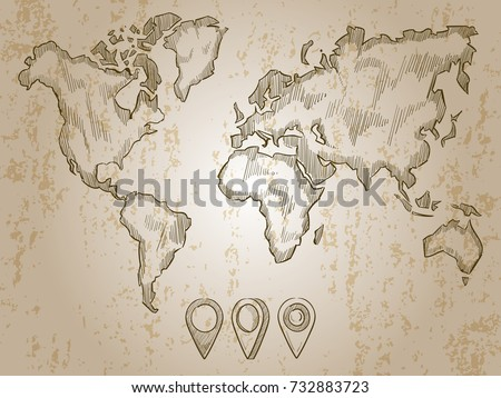 Scribble style world maps download free vector art stock graphics vintage hand drawn world map and doodle pins world map earth travel sketch gumiabroncs Images