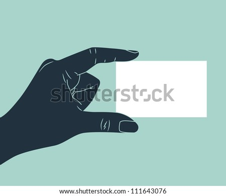 vintage hand silhouette giving blank ID card