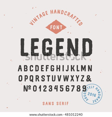 Vintage handcrafted sans serif font in traditional american style. Uppercase rough alphabet