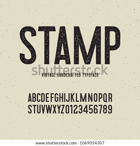 vintage handcrafted typeface with stamp effect. retro font. grunge letters on textured background. vector illustration