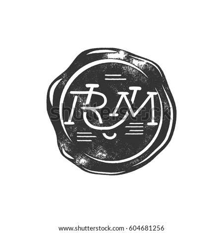 Vintage handcrafted wax seal template with monogram Rum. Use as pirate emblem, label, logo. Isolated on white background. Sketching filled style. Vector silhouette template