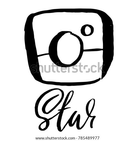 Vintage handdrawn photo camera icon. Vector illustration for social media contests. Star modern brush lettering.