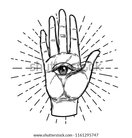 Vintage Hands with all seeing eye. Hand drawn sketchy illustration with mystic and occult hand drawn symbols. Palmistry concept. Vector illustration. Spirituality, astrology and esoteric concept.
