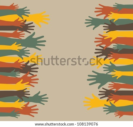 vintage hands with space for copy. vector illustration