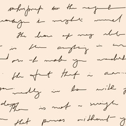 Vintage handwritten letter texture background. Background of unreadable handwriting. Monochrome vector illustration of unreadable letters and calligraphy.