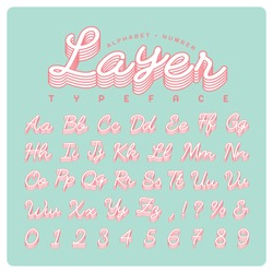 Vintage handwritten typeface or font in layered effect. Vector script alphabet and number set in retro style for title, headline, poster, wedding, website, brochure or name card design.