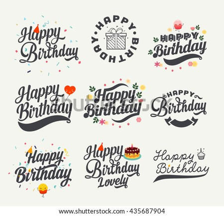 Vintage Happy Birthday Calligraphic And Typographic Background