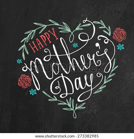Vintage Happy Mother's Day Lettering Greeting