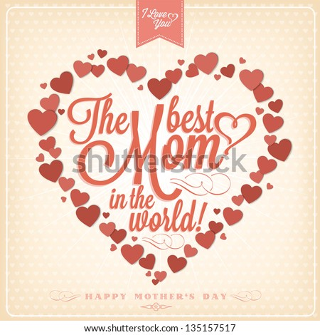 Vintage Happy Mothers\'S Day Typographical Background With Hearts