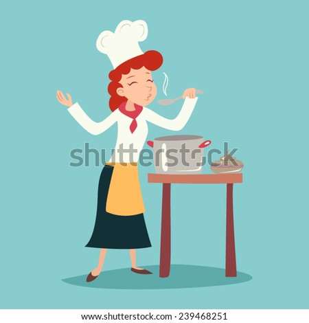 Vintage Happy Smiling Chief Cook Girl Tasting Dish Symbol Food Icon on Stylish Background Retro Cartoon Design Vector Illustration