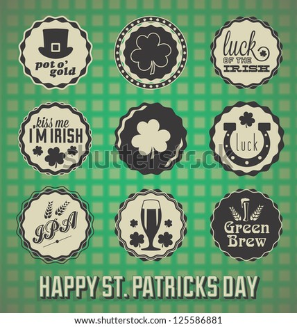 Vintage Happy St. Patrick's Day Labels and Icons
