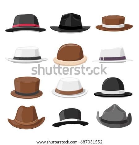 vintage hat collection  vector...