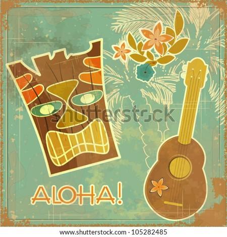 Vintage Hawaiian card - invitation to Beach party - vector illustration