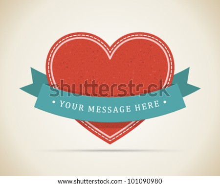 Vintage heart and ribbon Valentines day vector illustration eps 10