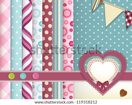Vintage heart label background with butterflies