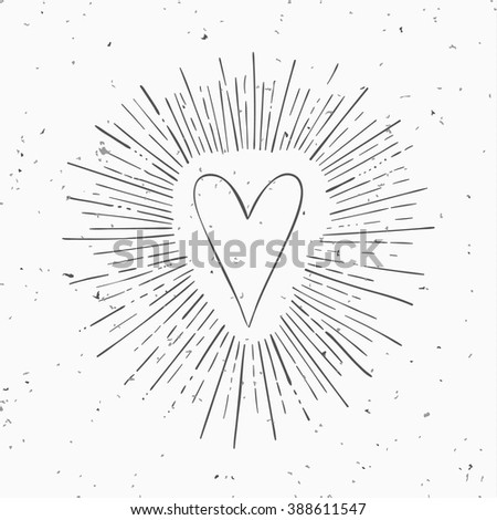 vintage heart with circle hand