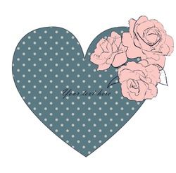 Vintage heart with roses and polka dots. Vector illustration can be used as greeting or invitation card.