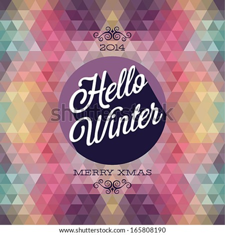 Vintage Hello Winter Poster Vector illustration