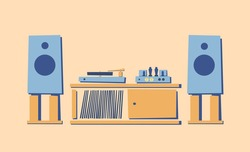 Vintage HI-FI stereo system on cabinet, stand, nightstand. Turntable of vinyl records.Tube amplifier. Acoustic system. Retro style. Musical equipment for music lover. Flat vector illustration Isolated