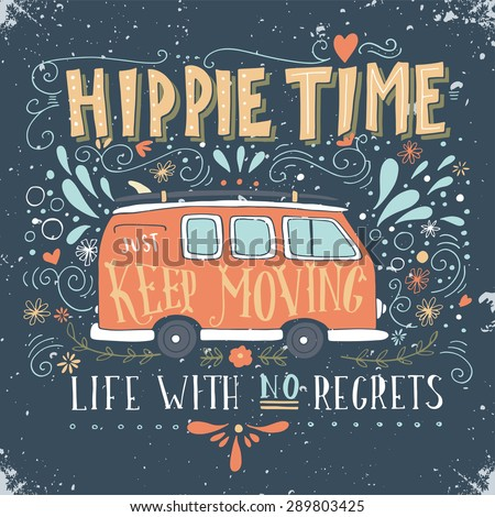 vintage hippie time print with