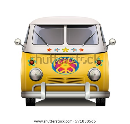 Vintage hippie van. Isolated vector design.
