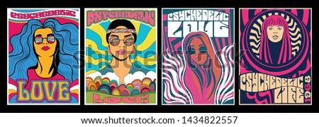 Vintage Hippie Woman Posters, Psychedelic Art, Retro Colors