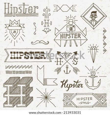 Vintage hipster hand drawn design elements set 9 Vector illustration