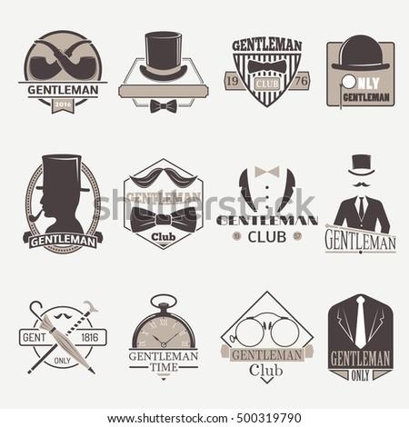 Vintage hipster label gentlemen hipster icon