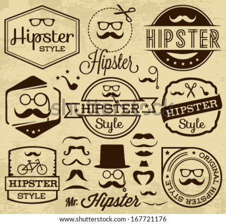 Vintage Hipster Labels and Badges. Mustaches, Hats, Glasses and Pipes
