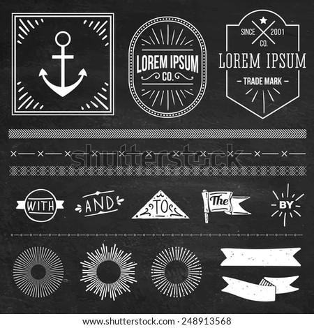 vintage hipster labels and logos set and design elements