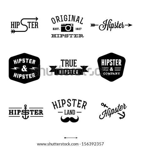 vintage hipster labels with anchor, arrow